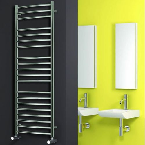 Reina EOS Curved Vertical Designer Heated Towel Rail - 430mm x 500mm - Polished